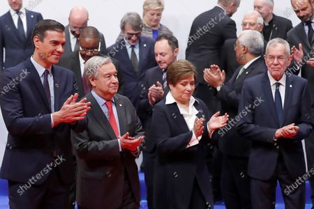 Front row: Spanish Prime Minister Pedro Sanchez (L), UN General-Secretary, Antonio Guterres (2-L), Executive Secretary of the United Nations Framework Convention on Climate Change Patricia Espinosa (2-R) and President of Austria Alexander van der Bellen (R), pose with other world leaders for a family picture during the opening ceremony of the UN Climate Change Conference COP25 held in Madrid, Spain, 02 December 2019. The UN Climate Change Conference COP25 runs from 02 to 13 December 2019 in the Spanish capital.