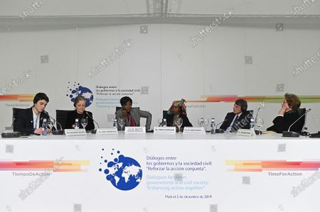 The President of the European Parliament, David Sassoli (2-R), along with environmental activist Hindou Ibrahim (3-R) from Chad, Republic of Congo's Minister of Tourism and Environment Arlette Soudan-Nonault (3-L), the Bristol-based Environment Agency's (EA) chairwoman Emma Howard Boyd (2-L) and others attends a round table discussion titled: 'Dialogues between governments and civil society: 'Enhancing action together'' on the first day of the UN Climate Change Conference COP25 in Madrid, Spain, 02 December 2019. The UN Climate Change Conference COP25 runs from 02 to 13 December 2019 in the Spanish capital. On left is environmental activist Hindou Ibrahim from Chad.
