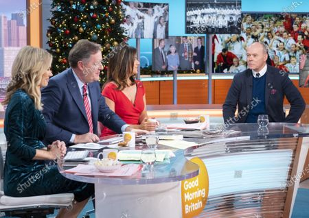 Charlotte Hawkins, Piers Morgan and Susanna Reid with Sir Clive Woodward