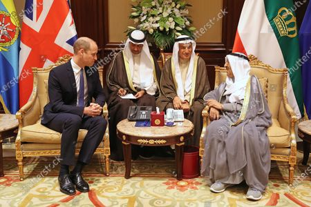 Prince William during his audience with the Amir of Kuwait, His Highness Sheikh Sabah Al-Ahmad Al-Jaber Al-Sabah, at the Bayan Palace, Kuwait City