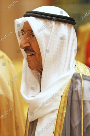 The Amir of Kuwait, His Highness Sheikh Sabah Al-Ahmad Al-Jaber Al-Sabah, during a luncheon with Prince William at the Bayan Palace, Kuwait City