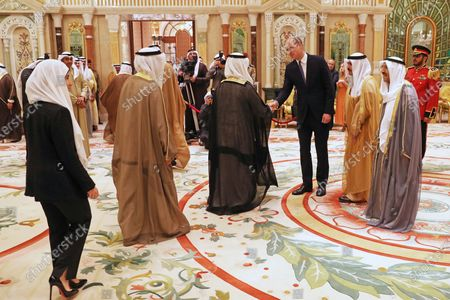 Prince William during his luncheon with the Amir of Kuwait, His Highness Sheikh Sabah Al-Ahmad Al-Jaber Al-Sabah, at the Bayan Palace, Kuwait City, as part of his tour of Kuwait and Oman