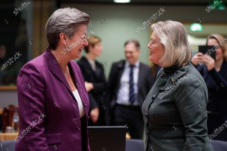 European Commissioner in charge of Home affairs Ylva Johansson (L) and Dutch State Secretary for Justice and Security Ankie Broekers-Knol (R) attend a Justice and Home Affairs Council at the European Council in Brussels, Belgium, 02 December 2019.