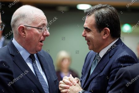 European Commissioner as Vice President for Protecting the European Way of Life Margaritis Schinas (R) and Ireland's Minister of Justice and Equality Charles Flanagan (L) attend a Justice and Home Affairs Council at the European Council in Brussels, Belgium, 02 December 2019.