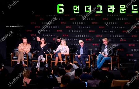 Stock Image of Ryan Reynolds, Adria Arjona, Melanie Laurent, Ian Bryce and Michael Bay