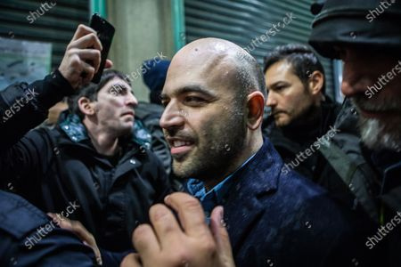 Roberto Saviano attends at the protest of the Movement ' Le Sardine' in Duomo square in Milan
