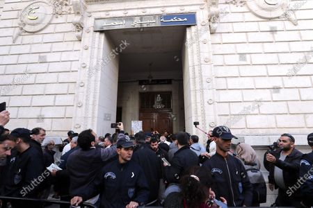A general view outside of the Court of Sidi Mhamed during the trial of two Algerian former Prime Ministers Abdelmalek Sellal and Ahmed Ouyahia, Algiers, Algeria, 02 December 2019. The two former prime ministers under the Bouteflika regime will appear before the judge on charges of money laundering and corruption.