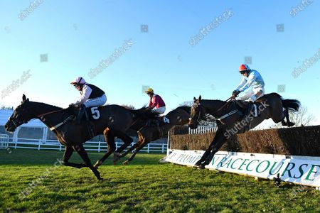 Winner of The Tysers Handicap Chase Tzar De LÕElfe (7, right)   ridden by James Davies and trained by Richard Rowe  during Horse Racing at Plumpton Racecourse on 2nd December 2019
