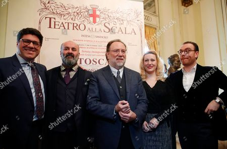 Stock Picture of From left, baritone Luca Salsi, director Davide Livermore, conductor Riccardo Chailly, soprano Saioa Hernandez and tenor Francesco Meli pose for photographers prior to the start of a press conference to present the 2019/2020 season, at the Milan La Scala opera house, Italy