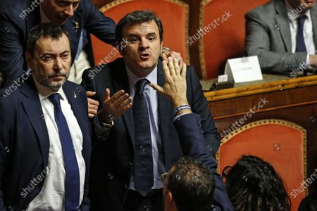 League Senator Gian Marco Centinaio (R) during a session of the Senate in Rome, Italy, 02 December 2019. Conte reported on the European Stability Mechanism (ESM) as coalition infighting deepen on the reform of the eurozone's bailout fund, media reported. Italy's government will hold a vote in parliament about the reform next week.