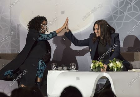 Golshifteh Farahani (L) and Tunisian actress Hend Sabry (R)  attend a 'Conversation with Jean-Luc Ormieres' event during the 18th annual Marrakech International Film Festival, in Marrakech, Morocco, 02 December 2019.The film festival runs from 29 November to 07 December 2019.