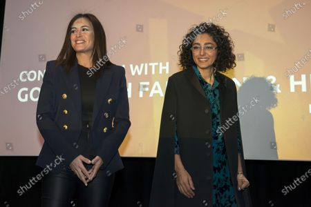 Golshifteh Farahani (R) and Tunisian actress Hend Sabry (L)  attend a 'Conversation with Jean-Luc Ormieres' event during the 18th annual Marrakech International Film Festival, in Marrakech, Morocco, 02 December 2019.The film festival runs from 29 November to 07 December 2019.