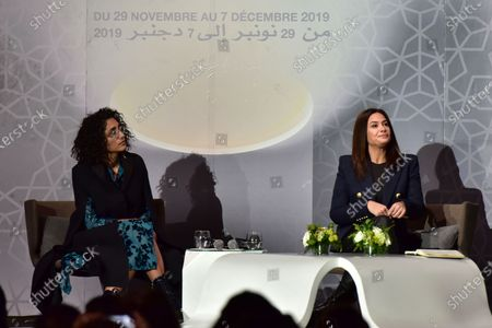 Stock Picture of Golshifteh Farahani (L) and Tunisian actress Hend Sabry (R)  attend a 'Conversation with Jean-Luc Ormieres' event during the 18th annual Marrakech International Film Festival, in Marrakech, Morocco, 02 December 2019.The film festival runs from 29 November to 07 December 2019.