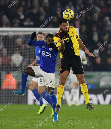 Ricardo Pereira of Leicester City and Troy Deeney of Watford