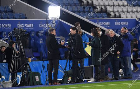 Stock Picture of Amazon Prime pundits Graeme Le Saux and Owen Hargreaves chat before kick off