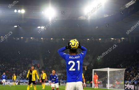 Ricardo Pereira of Leicester City takes a throw-in