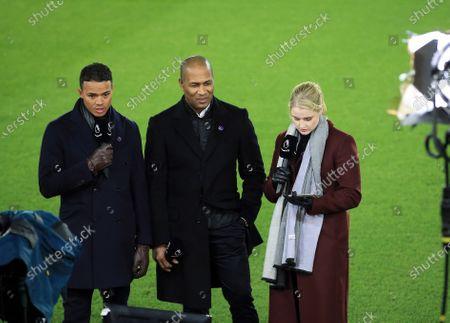 Amazon Prime Premier League presenter Catherine Whitaker with pundits Les Ferdinand and Jermaine Jenas