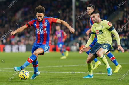 Andros Townsend of Crystal Palace controls the ball around Diego Rico of Bournemouth