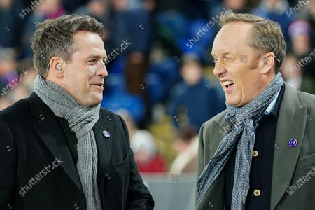 Stock Photo of Amazon Prime commentators Michael Owen and Lee Dixon on the sideline at half-time