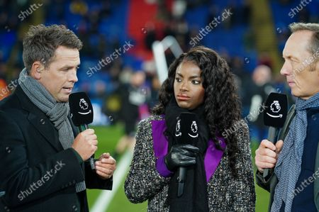 Michael Owen, Eniola Aluko and Lee Dixon on the sideline before kick-off for the Amazon Prime pre-match commentary on the debut night of coverage of Premier League football for Amazon.