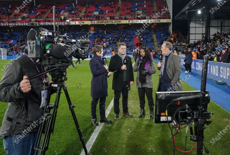 Eilidh Barbour, Michael Owen, Eniola Aluko and Lee Dixon on the sideline before kick-off for the Amazon Prime pre-match commentary on the debut night of coverage of Premier League football on Amazon.