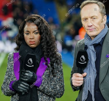 Eniola Aluko and Lee Dixon on the sideline before kick-off for the Amazon Prime pre-match commentary on the debut night of coverage of Premier League football for Amazon.