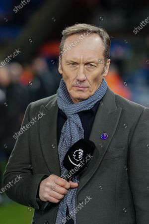 Lee Dixon on the sideline before kick-off for the Amazon Prime pre-match commentary on the debut night of coverage of Premier League football for Amazon.