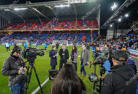 Eilidh Barbour, Michael Owen, Eniola Aluko and Lee Dixon on the sideline before kick-off for the Amazon Prime pre-match commentary on the debut night of coverage of Premier League football for Amazon.