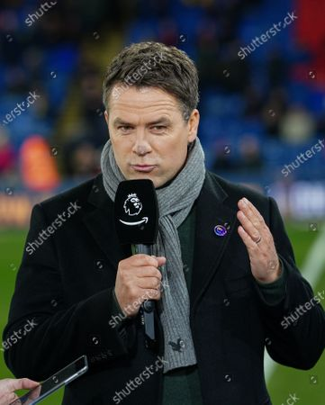 Stock Image of Michael Owen on the sideline before kick-off for the Amazon Prime pre-match commentary on the debut night of coverage of Premier League football for Amazon.
