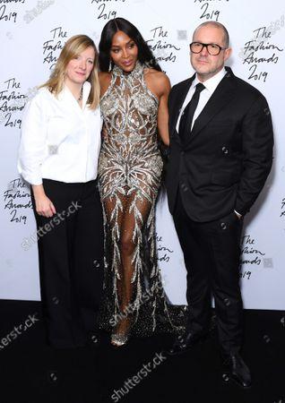 Stock Image of Sarah Burton, Naomi Campbell and Sir Jony Ive