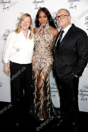 Stock Photo of Sarah Burton, Naomi Campbell and Sir Jony Ive