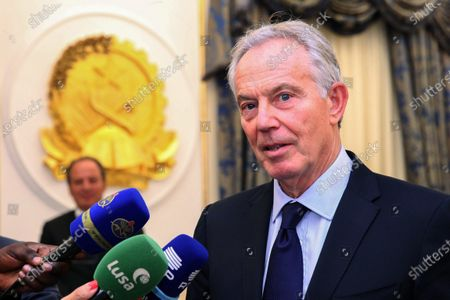 The initiator of the Tony Blair Institute for Global Change, former British Prime Minister Tony Blair (R), speaks with reporters after meeting Angola's President Joao Lourenco (unseen) in Luanda, Angola, 02 December 2019. According to media reports is Blair in Angola for a short visit to tighten contacts between British and Angolan business partners.