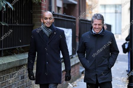 Chuka Umunna and Hugh Grant campaigning in London in the upcoming General Election. Grant will be encouraging people to vote for Liberal Democrat Chukka as the Remain candidate, and address campaign volunteers before going canvassing.