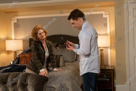 Stock Image of Melissa Leo as Amelia Meegers and Andy Mientus as Tyler Meegers