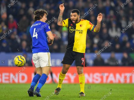 4th December 2019, King Power Stadium, Leicester, England; Premier League, Leicester City v Watford : Troy Deeney (9) of Watford reacts after a shot from his player glances offCredit: Jon Hobley/News Images