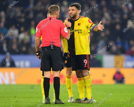 4th December 2019, King Power Stadium, Leicester, England; Premier League, Leicester City v Watford : Referee Craig Pawson has words with Troy Deeney (9) of Watford Credit: Jon Hobley/News Images