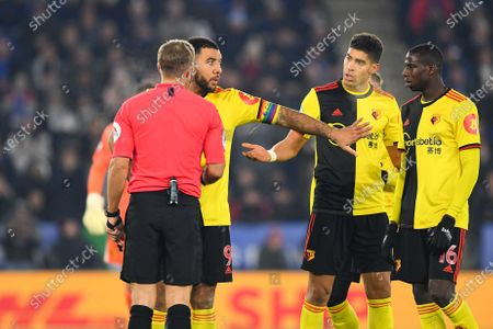 4th December 2019, King Power Stadium, Leicester, England; Premier League, Leicester City v Watford : Troy Deeney (9) of Watford holds his players to back-offCredit: Jon Hobley/News Images