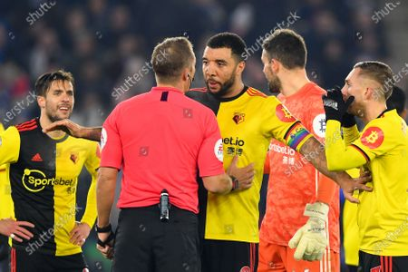 4th December 2019, King Power Stadium, Leicester, England; Premier League, Leicester City v Watford : Troy Deeney (9) of Watford talks with Referee Craig Pawson Credit: Jon Hobley/News Images
