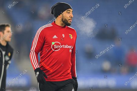 4th December 2019, King Power Stadium, Leicester, England; Premier League, Leicester City v Watford : Troy Deeney (9) of Watford warms up Credit: Jon Hobley/News Images