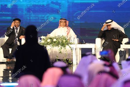 (L-R) Libyan former Foreign Minister Abdul Rahman Shalgam, Saudi Under Secretary of State for Public Diplomacy Saud Kateb and Saudi journalist Ali al-Mousa during a session of the Saudi Media Forum, in Riyadh, Saudi Arabia, 02 December 2019. According to media reports, over a thousand journalists from 32 countries are participating in the first two-day Saudi Media Forum entitled 'Media Industry: Opportunities and Challenges'.