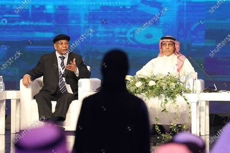 Stock Picture of (L-R) Libyan former Foreign Minister Abdul Rahman Shalgam and Saudi Under Secretary of State for Public Diplomacy Saud Kateb during a session of the Saudi Media Forum, in Riyadh, Saudi Arabia, 02 December 2019. According to media reports, over a thousand journalists from 32 countries are participating in the first two-day Saudi Media Forum entitled 'Media Industry: Opportunities and Challenges'.