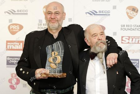 Derek Dick aka Fish after being presented with the Rock Radio Scottish Rock Award by the DJ Tom Russell