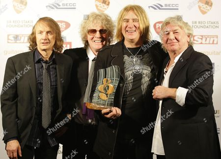 Stock Image of Mott The Hoople who won the Legend Award - Verden Allen,  Ian Hunter, Joe Elliot of Def Leppard and Mick Ralphs