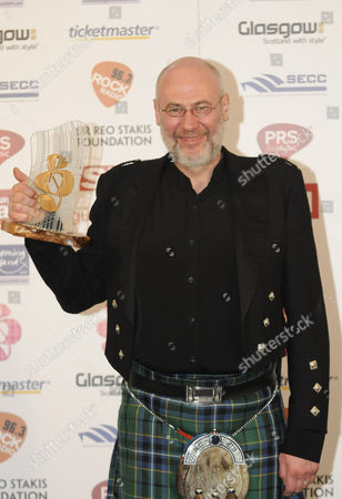 Stock Picture of Derek Dick aka Fish after being presented with the Rock Radio Scottish Rock Award