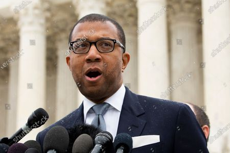 Stock Image of Corporation Counsel of the City of New York James A. Johnson speaks after the Supreme Court heard oral arguments in the case New York State Rifle and Pistol Association Inc. v. City of New York, New York; outside the Supreme Court in Washington, DC, USA, 02 December 2019. The issue of the case is whether New York City's ban on transporting a licensed, locked and unloaded handgun to a home or shooting range outside city limits is consistent with the Second Amendment.