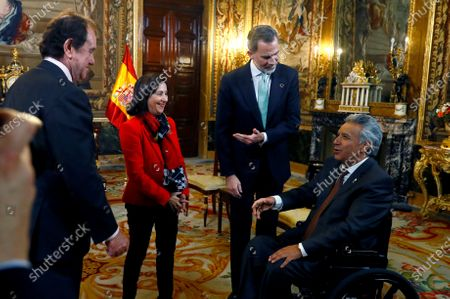 Spain's King Felipe VI (2-R) and Spanish Minister of Defense, Margarita Robles (2-L) receive the President of Ecuador Lenin Moreno (R) before their meeting at the Royal Palace in Madrid, Spain, 02 December 2019. Medina is on official visit on occasion of the UN Climate Change Conference COP25 running from 02 to 13 December 2019 in the Spanish capital.