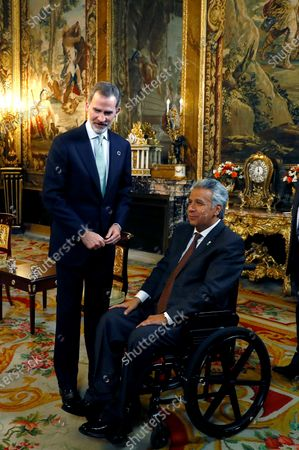 Spain's King Felipe VI (L) and President of Ecuador Lenin Moreno (R) pose during their meeting at the Royal Palace in Madrid, Spain, 02 December 2019. Medina is on official visit on occasion of the UN Climate Change Conference COP25 running from 02 to 13 December 2019 in the Spanish capital.