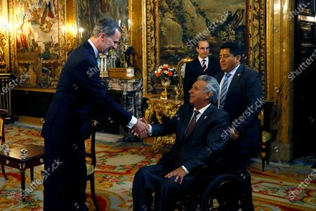 Spain's King Felipe VI (L) receives the President of Ecuador Lenin Moreno (2-R) before their meeting at the Royal Palace in Madrid, Spain, 02 December 2019. Medina is on official visit on occasion of the UN Climate Change Conference COP25 running from 02 to 13 December 2019 in the Spanish capital.