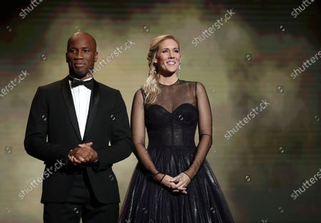 Hosts of the Ballon d'Or ceremony Sandy Heribert (R) and Didier Drogba open the show at the Theatre du Chatelet in Paris, France, 02 December 2019.