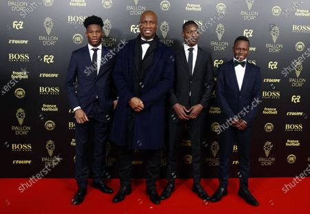 Former Ivorian striker Didier Drogba (2-L), host of the Ballon d'Or ceremony, and guests arrive for the Ballon d'Or ceremony at the Theatre du Chatelet in Paris, France, 02 December 2019.